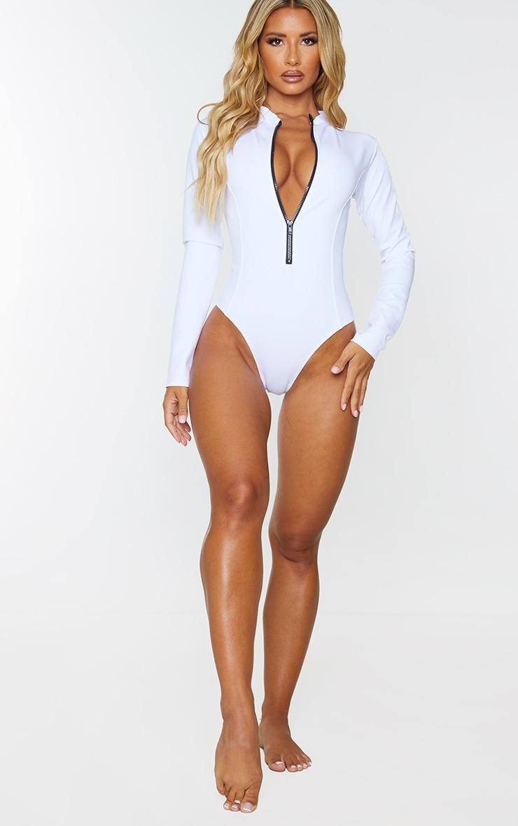 White Scuba Long Sleeve Zip Up Swimsuit 3