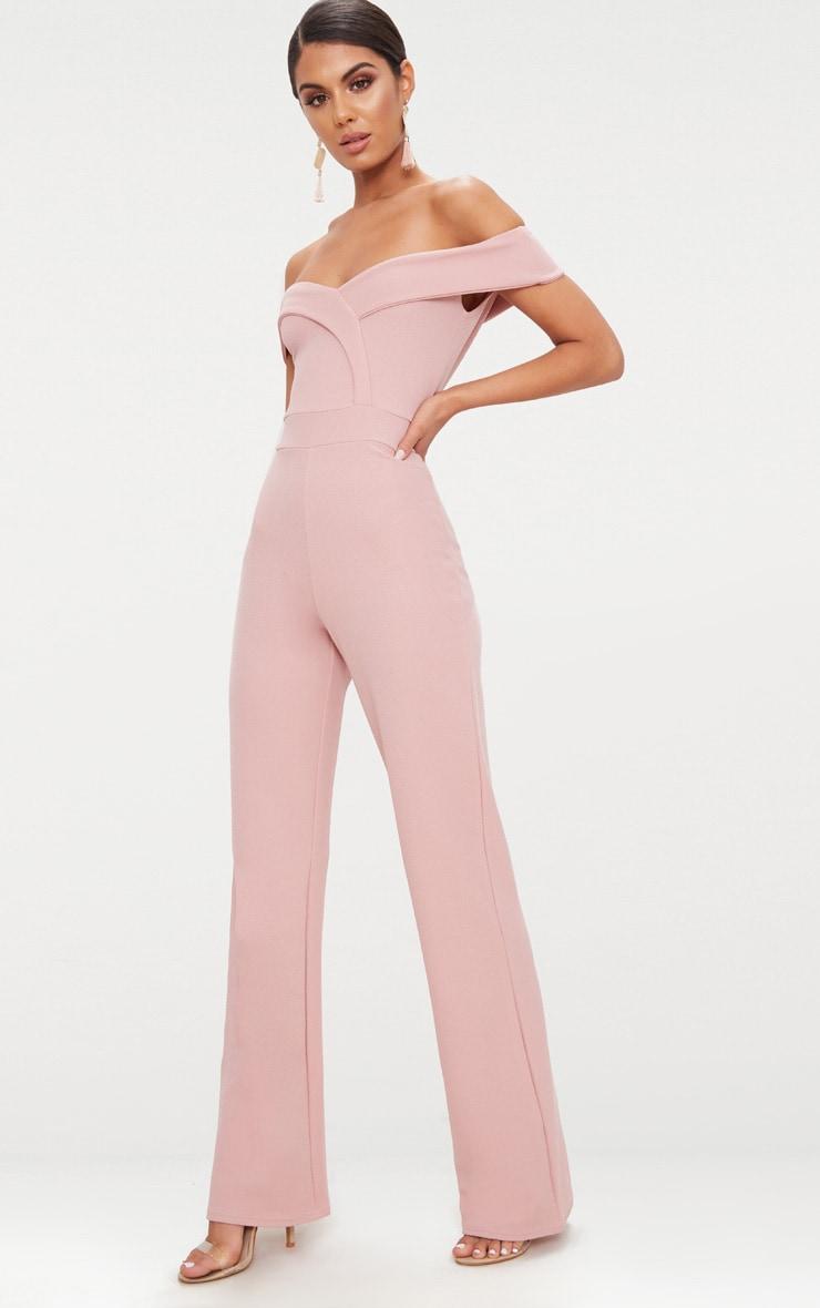 Pink Crepe Bardot Folded Detail Jumpsuit 4