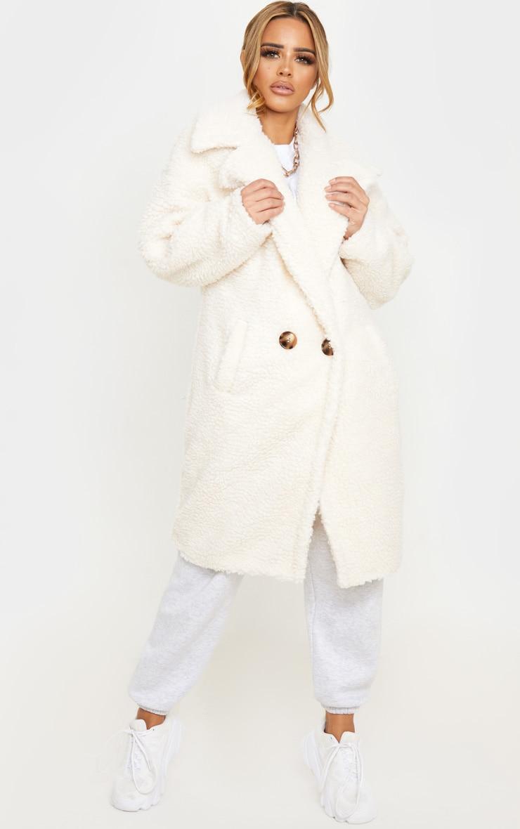 Petite Cream Borg Oversized Coat 1