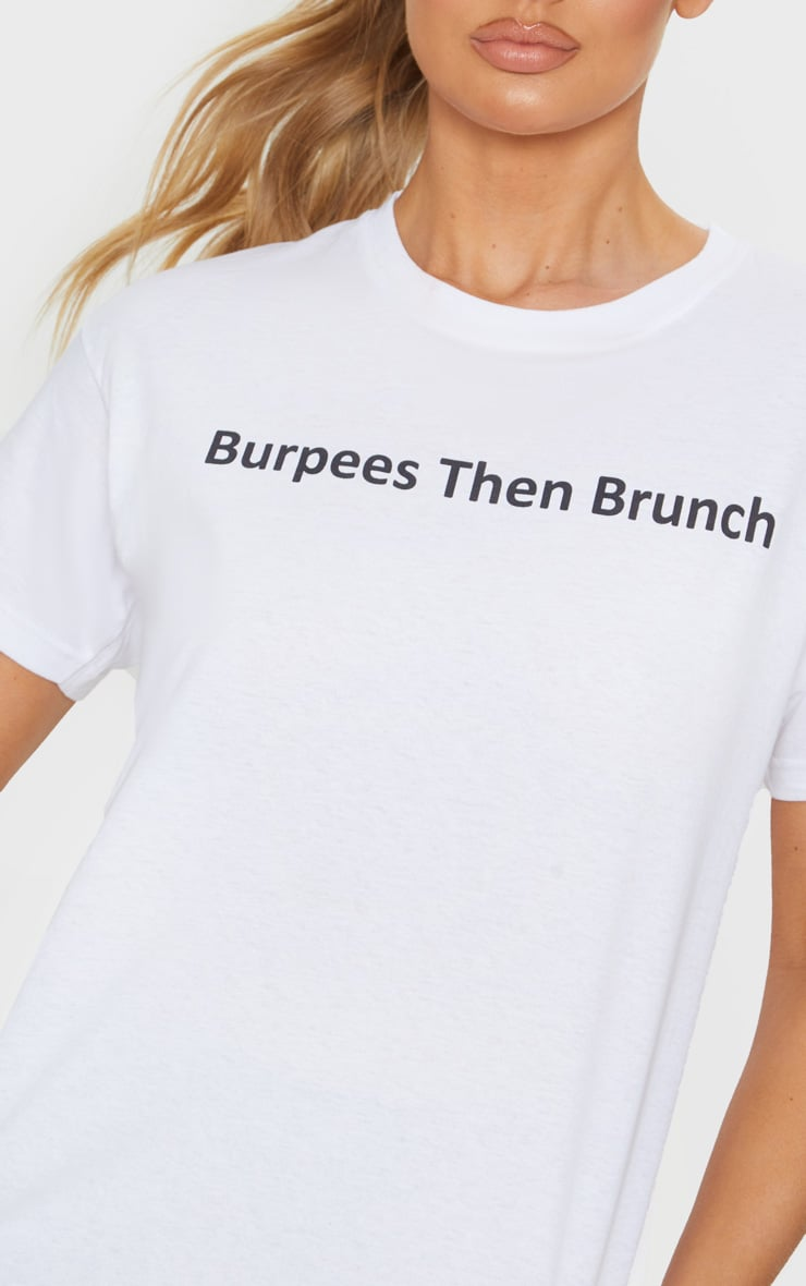 White Burpees Then Brunch Cropped T Shirt 5