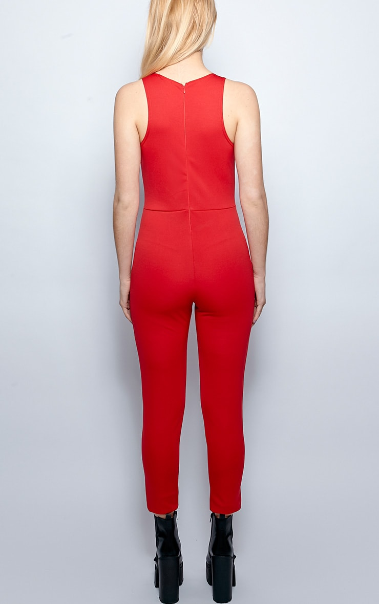 Stephanie Red Cut Out Jumpsuit 2