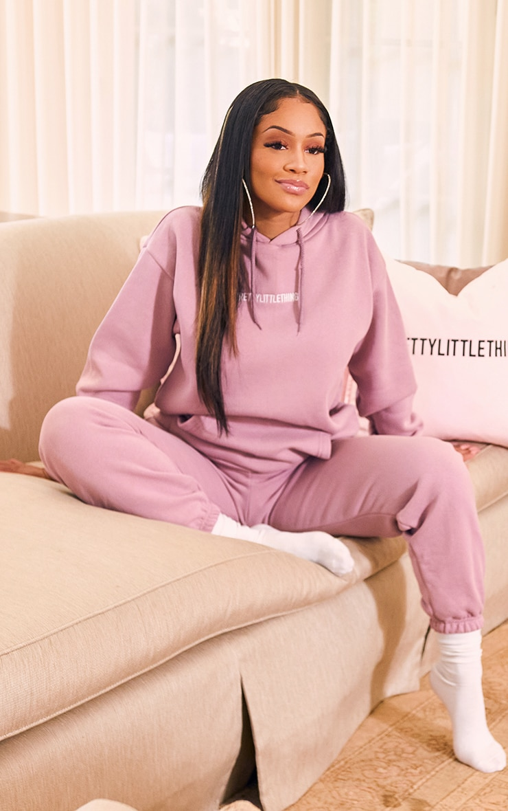 PRETTYLITTLETHING Lilac Embroidered Slogan Hoodie 3