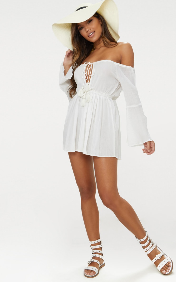 White Bardot Tassel Tied Beach Dress 4