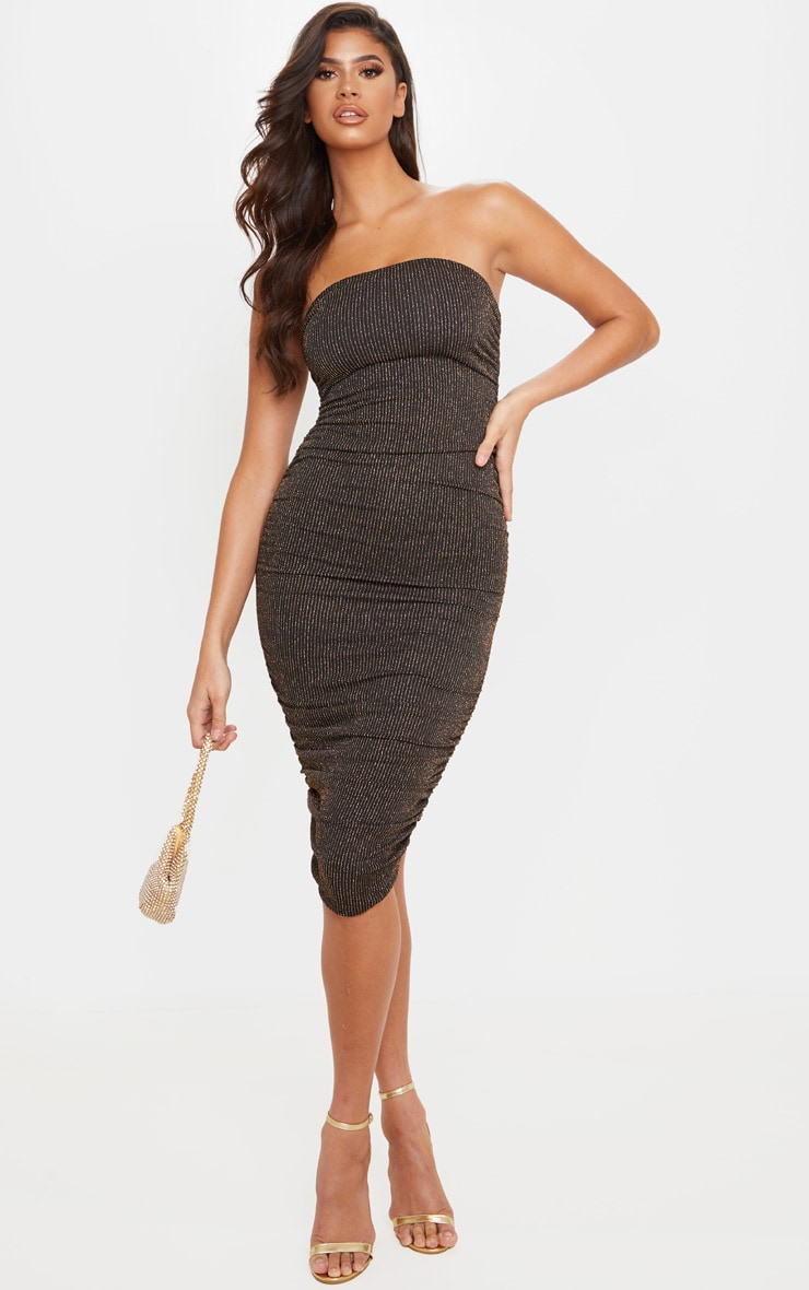 Gold Glitter Stripe Ruched Bandeau Bodycon Dress 1