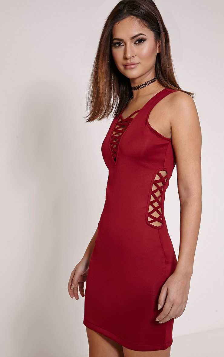 Rozabel Wine Lace Up Front and Side Mini Dress 4