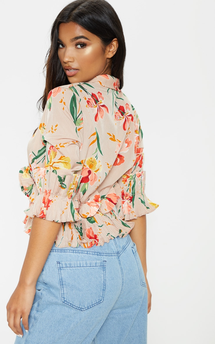 Nude Floral Frill Detail Pleated Blouse 2