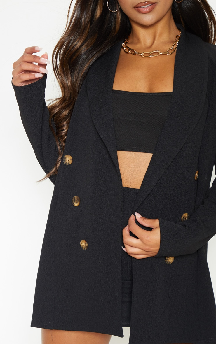 Black Oversized Button Detail Blazer 5