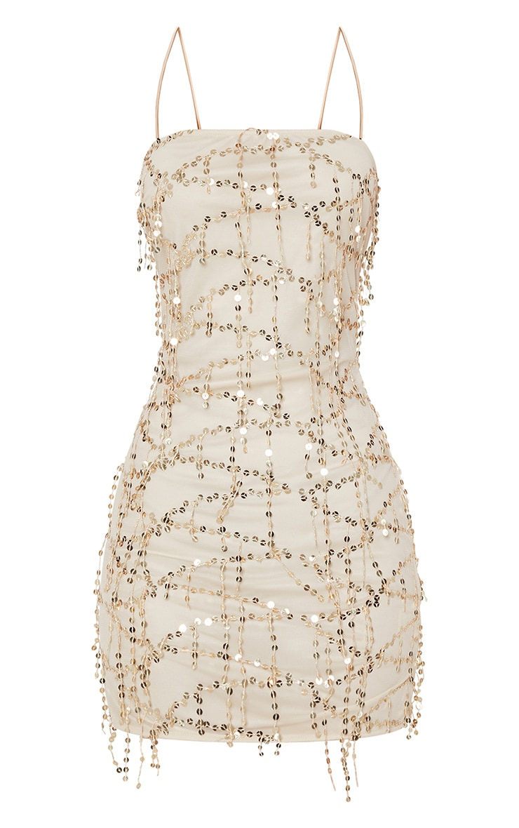 Gold Strappy Tassle Sequin Straight Neck Bodycon Dress 3