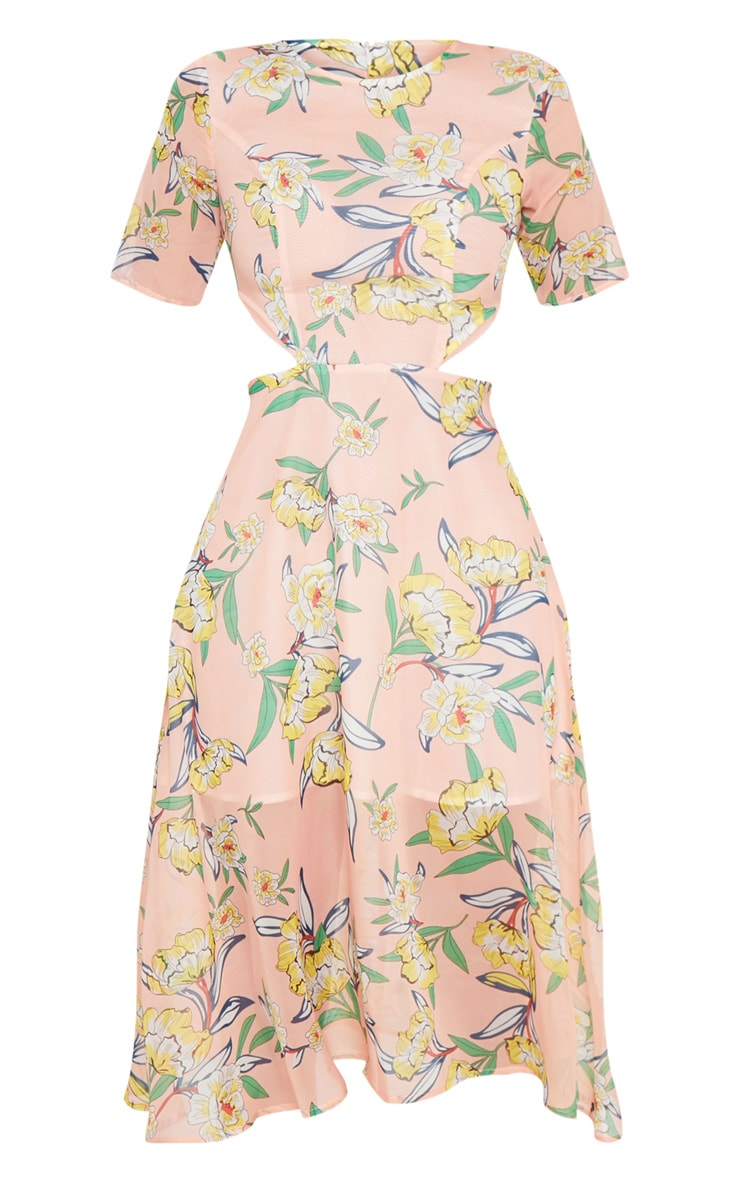 Pink Floral Cap Sleeve Cut Out Midi Dress 3