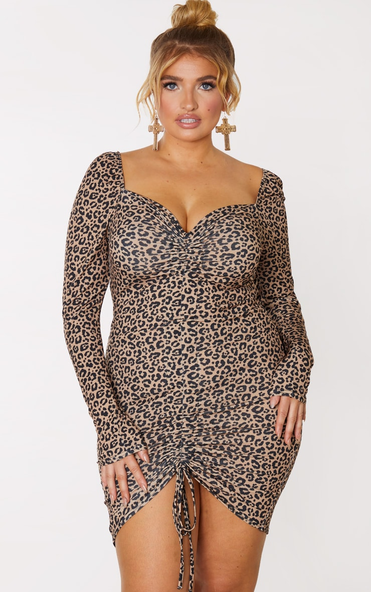 Plus Brown Leopard Ruched Front Long Sleeved Bodycon Dress 1