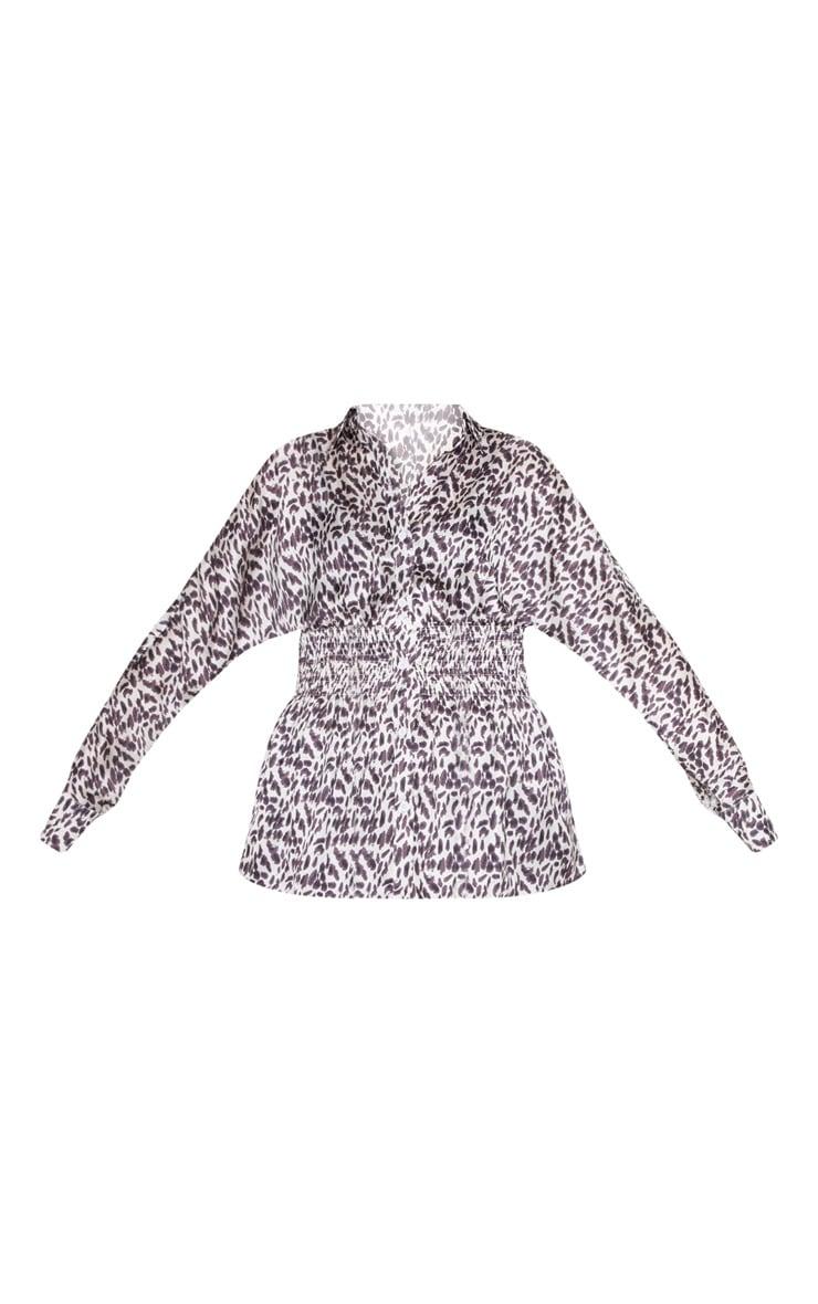 Monochrome Leopard Printed Ruched Waist Shirt 3