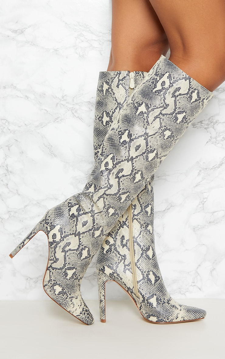 Beige Snake Print Knee High Heeled Boot 1