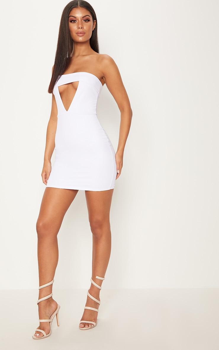 White Bandeau Fold Detail Bodycon Dress 3
