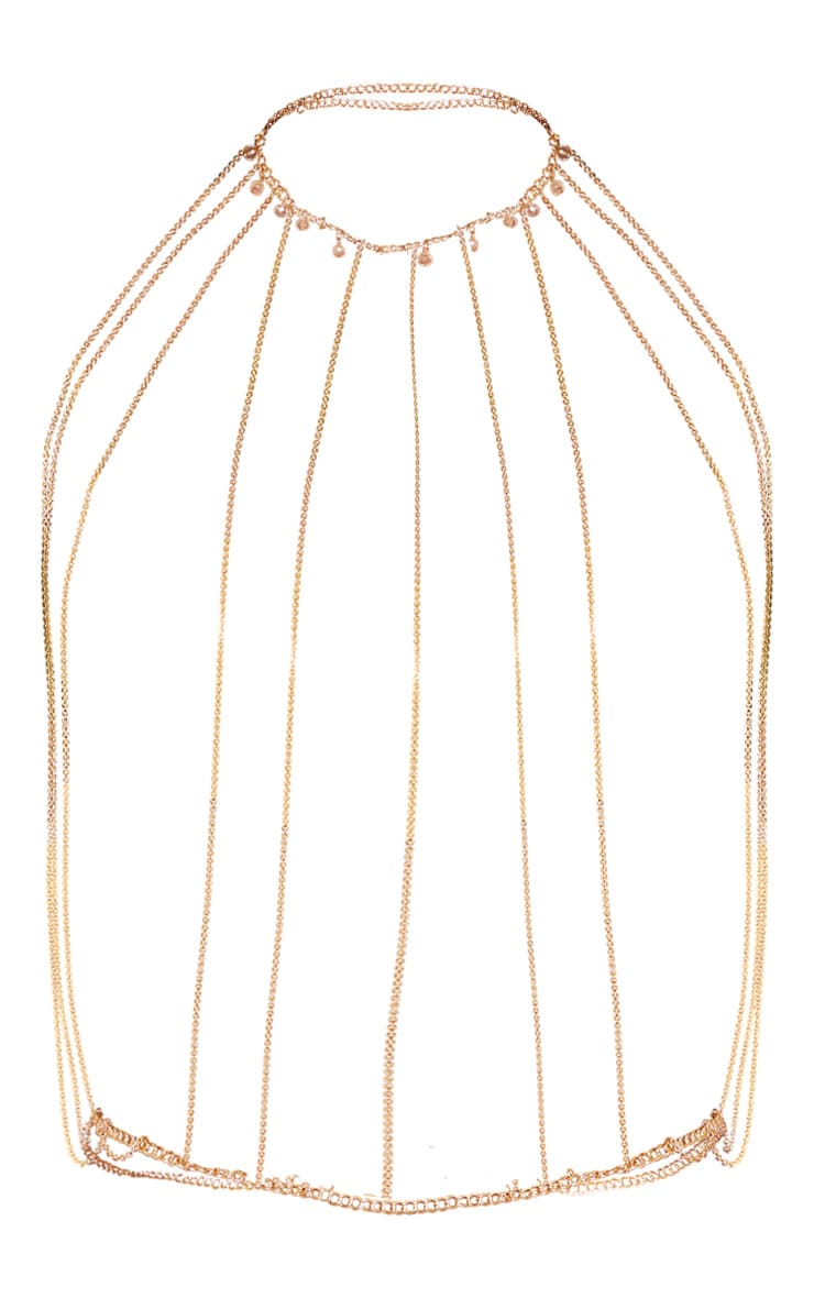 Gold Tassel And Bead Chain Body Jewellery 3