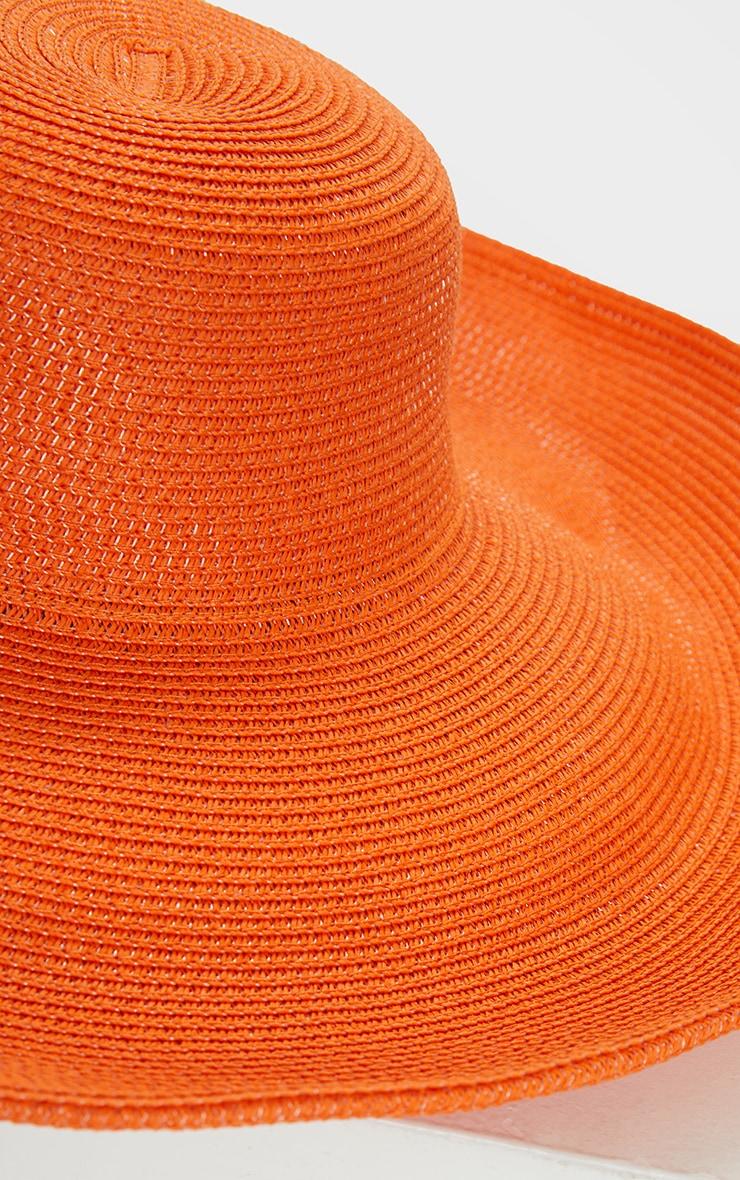 Chapeau de paille orange à larges bords souples 4