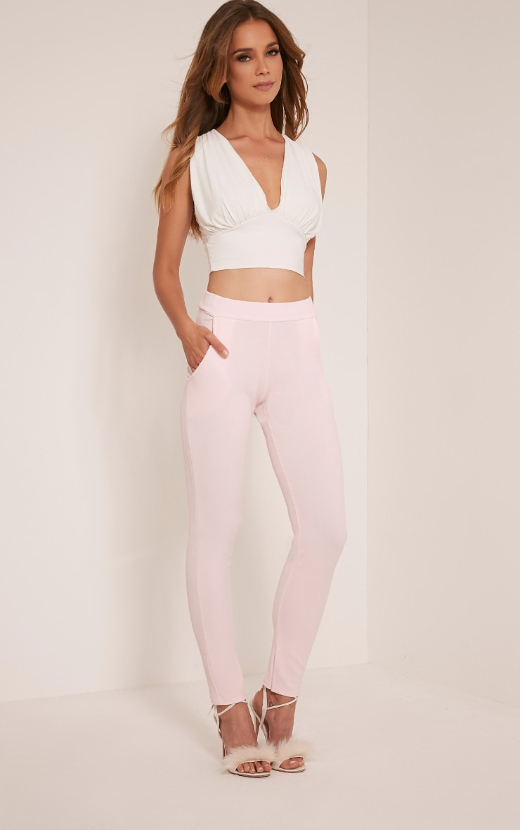 Sage Pink Crepe Cigarette Trousers 1