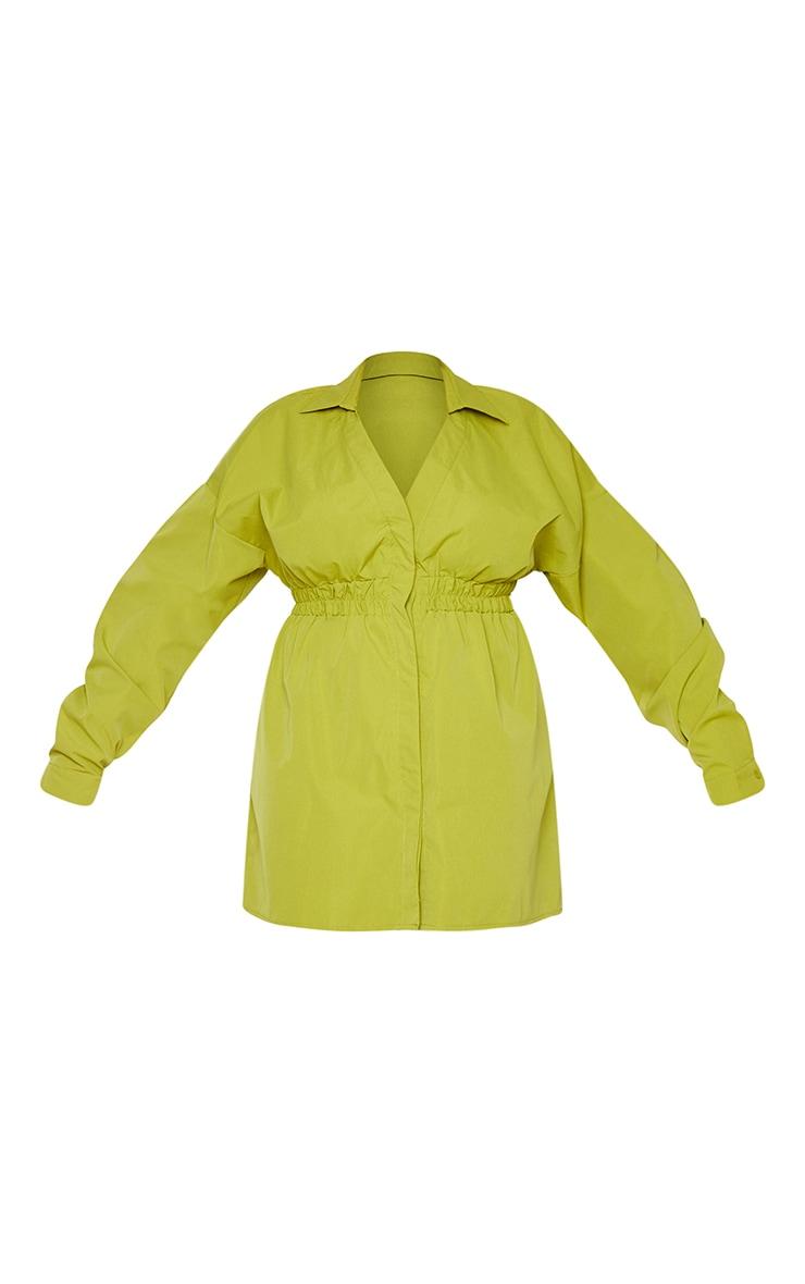 Plus Olive Oversized Ruched Waist Shirt Dress 5