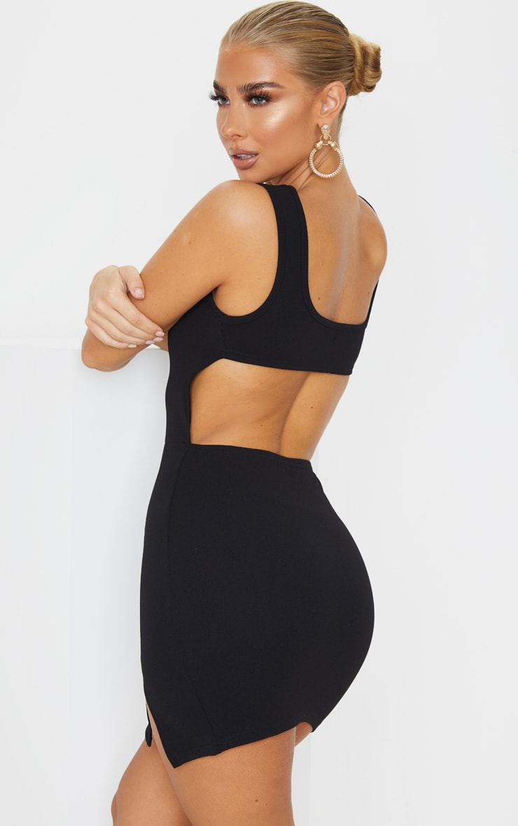 Black Sleeveless Cut Out Back Split Hem Bodycon Dress 1
