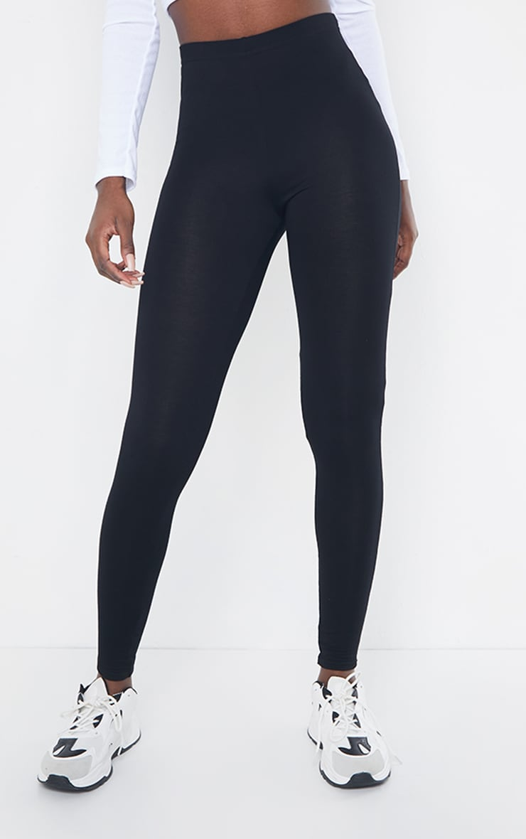 Tall Black Basic Jersey Leggings 2