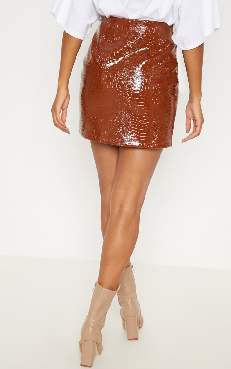 Brown Croc Effect Mini Skirt 4