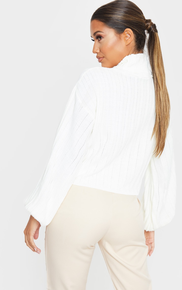 Ivory Balloon Sleeve Roll Neck Ribbed Jumper 2