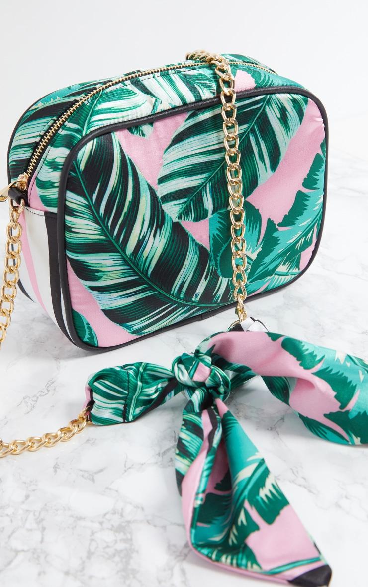 Pink Palm Leaf Print Chain Cross Body Bag 5