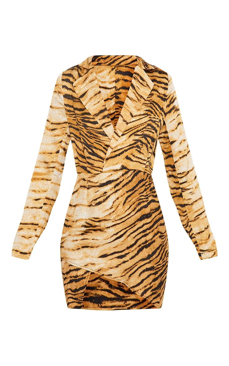 Harriett Animal Print Camel Wrap Shirt Dress 3