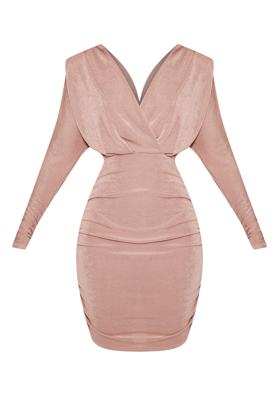 Gabrielle Blush Cape Ruched Bodycon Dress 3
