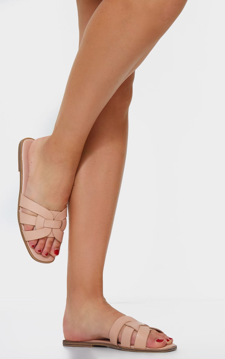Pink Cross Over Strap Mule Flat Sandals 1