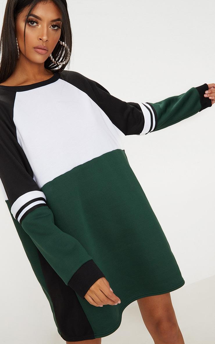 Green Colour Block Sweater Dress 1