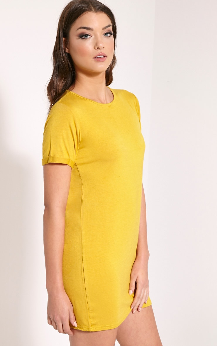 Basic Mustard Boyfriend Jersey T Shirt Dress 4