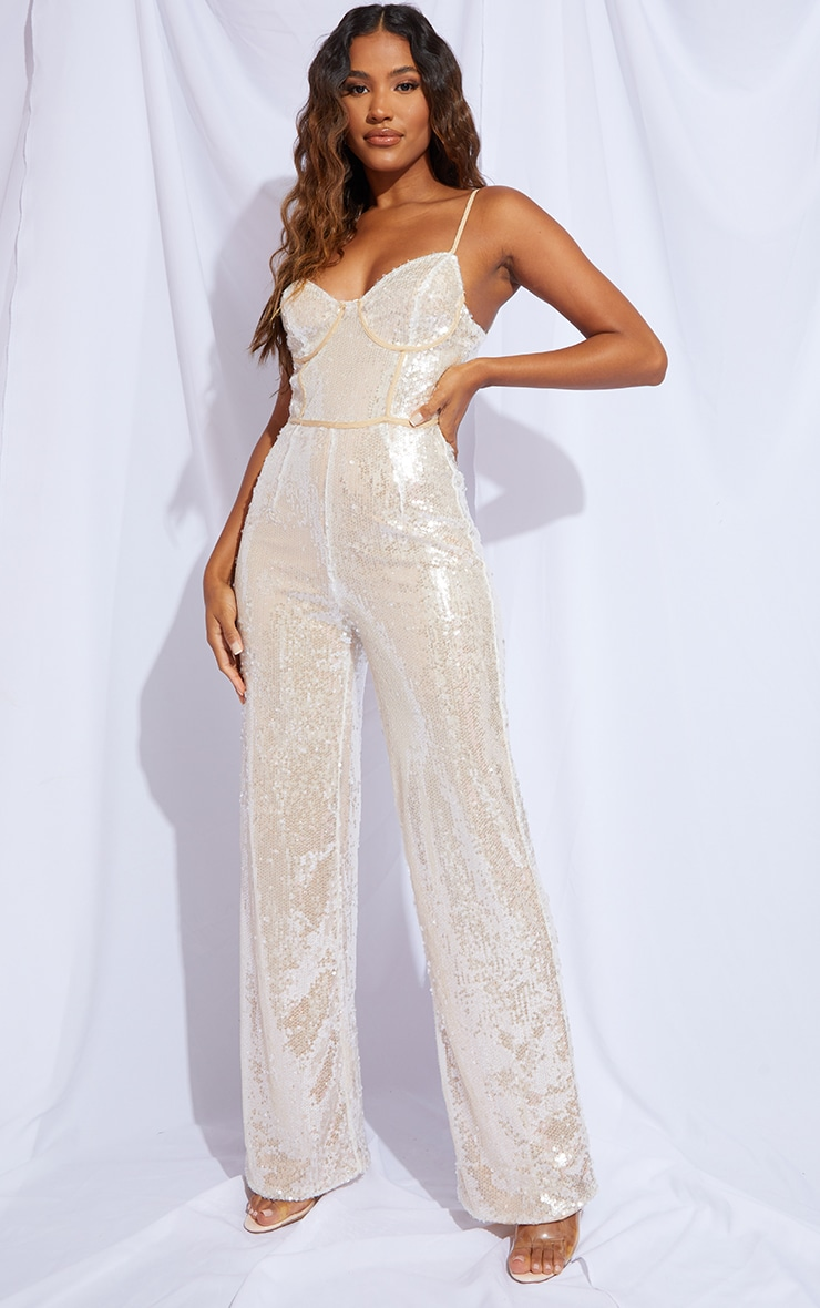 Premium Champagne Sequin Binding Detail Strappy Jumpsuit 1