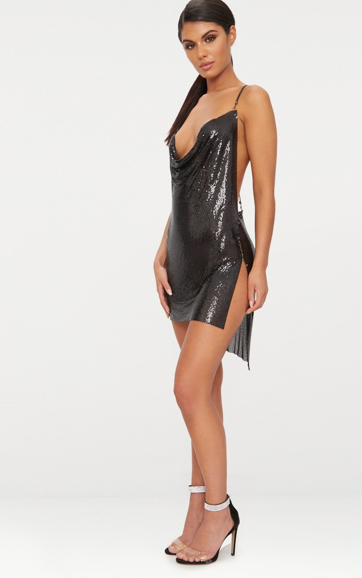 Black Chainmail Diamante Strap Dress 4