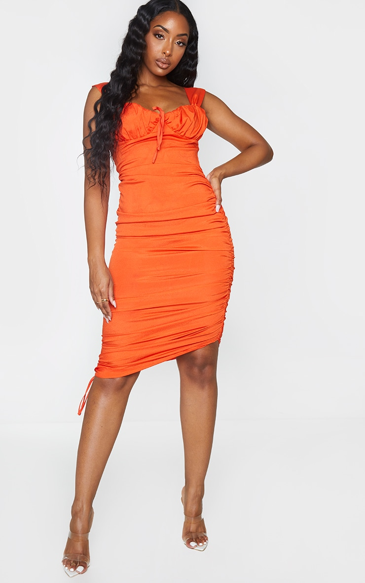 Orange Sleeveless Ruched Side Bust Detail Midi Dress 1