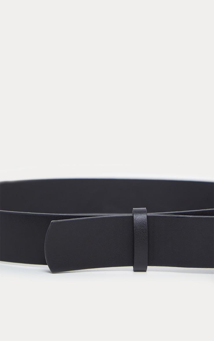 Plus Black Double Ring Detail Faux Leather Belt 3