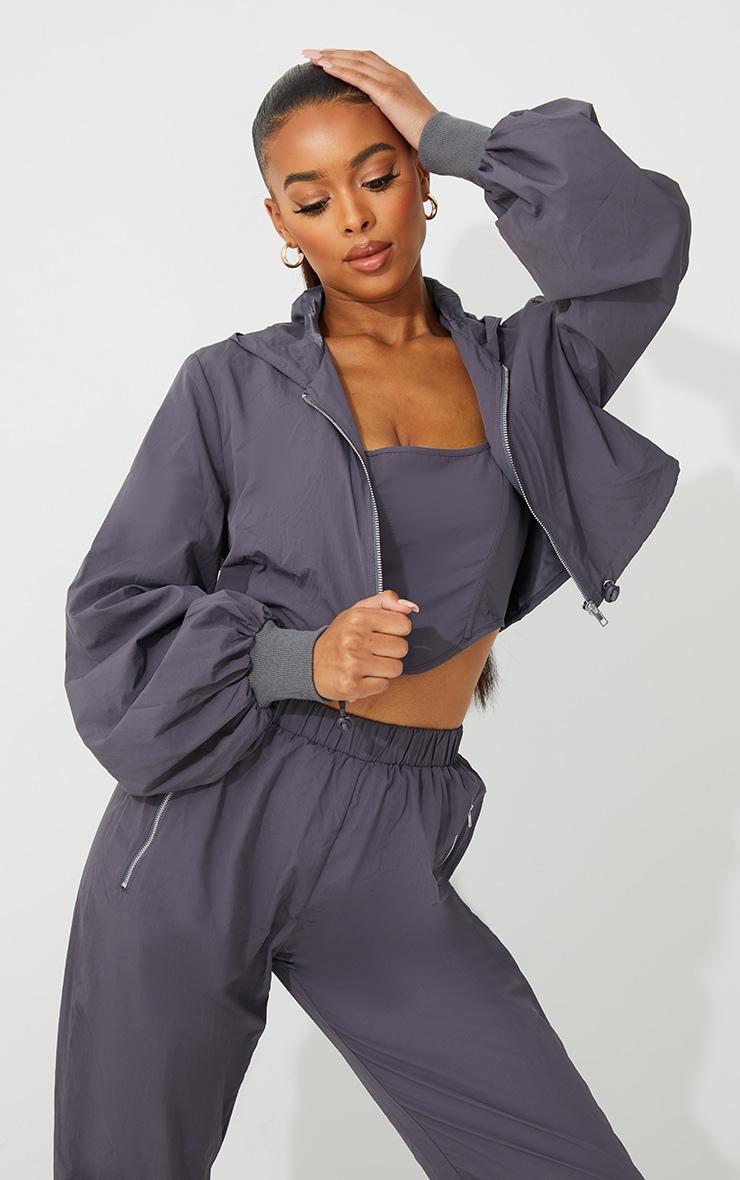 Grey Oversized Zip Up Cropped Hooded Jacket 6