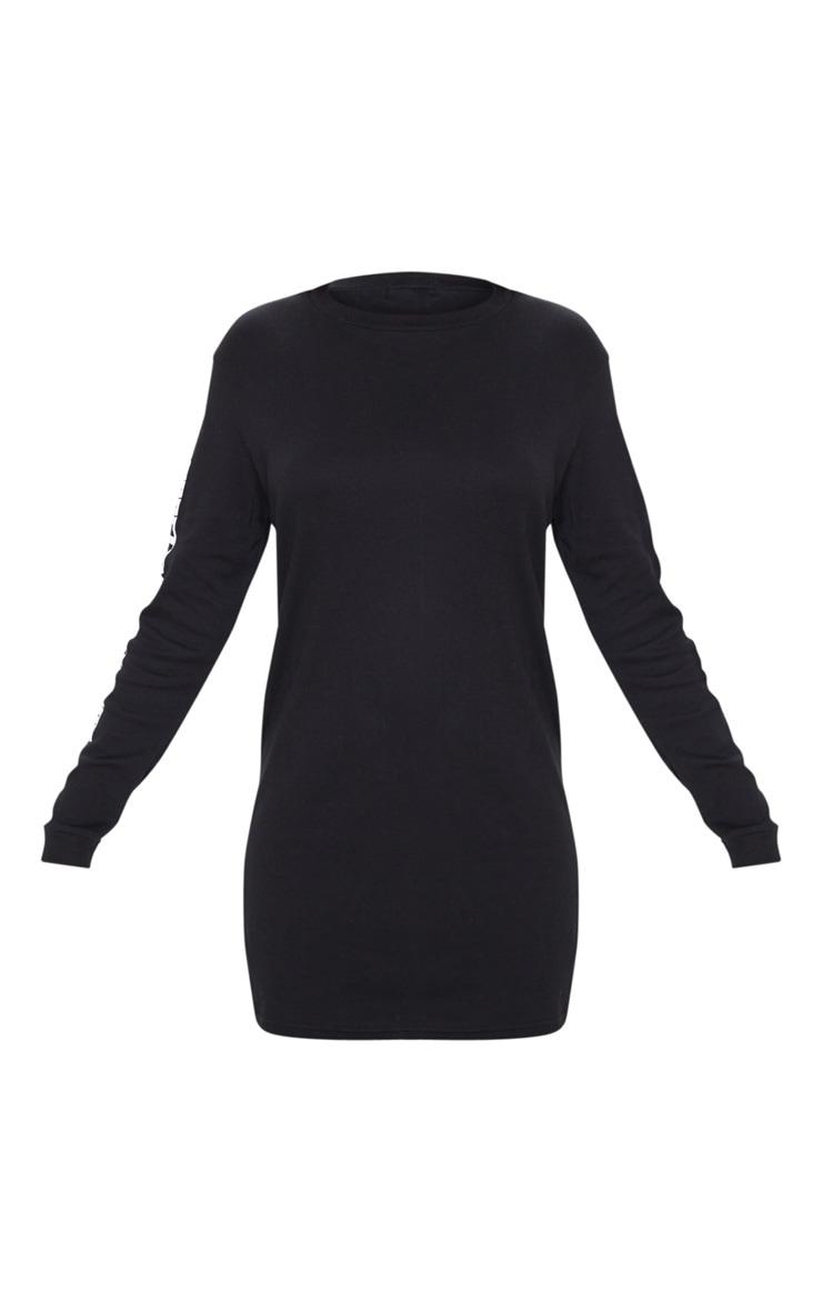 PRETTYLITTLETHING Black Oversized Long Sleeve T Shirt Dress 3