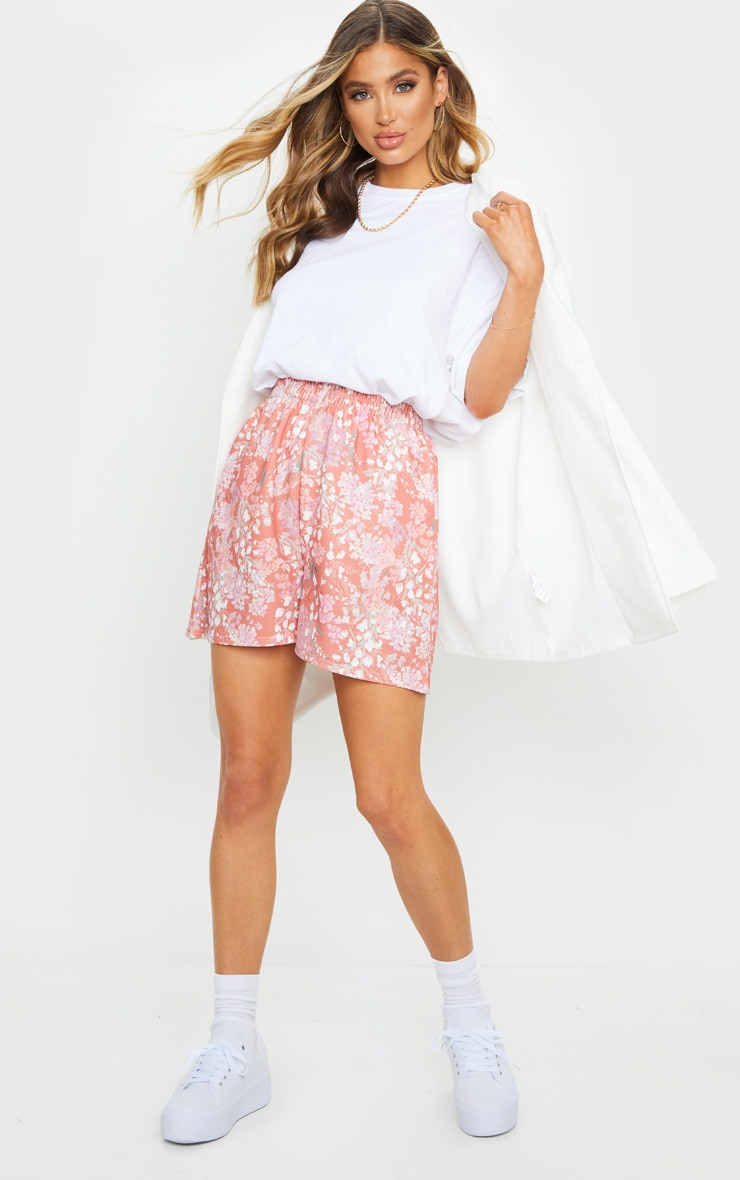 Pink Ditsy Floral Print Oversized Floaty Shorts 4