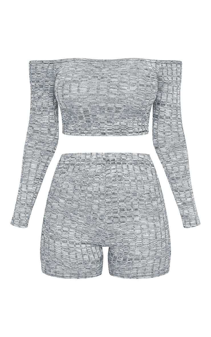Grey Bardot Rib Knitted Short Set 5