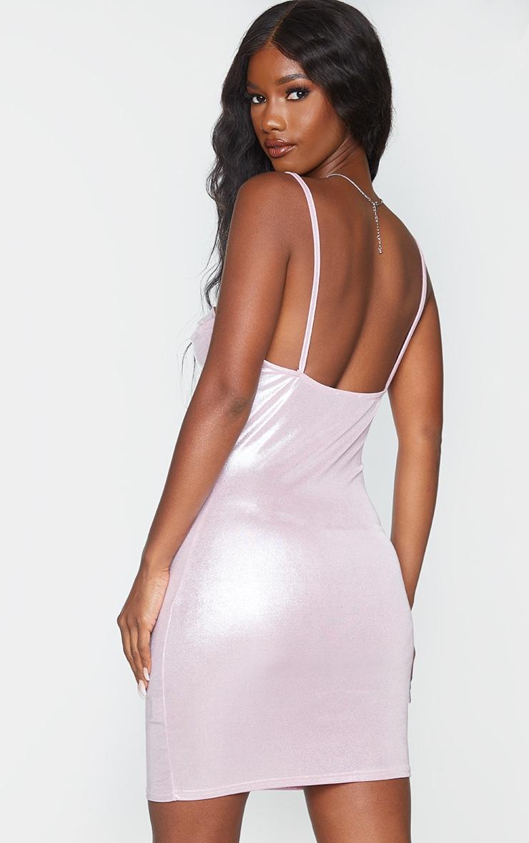 Pink Metallic Strappy Cowl Neck Bodycon Dress 2