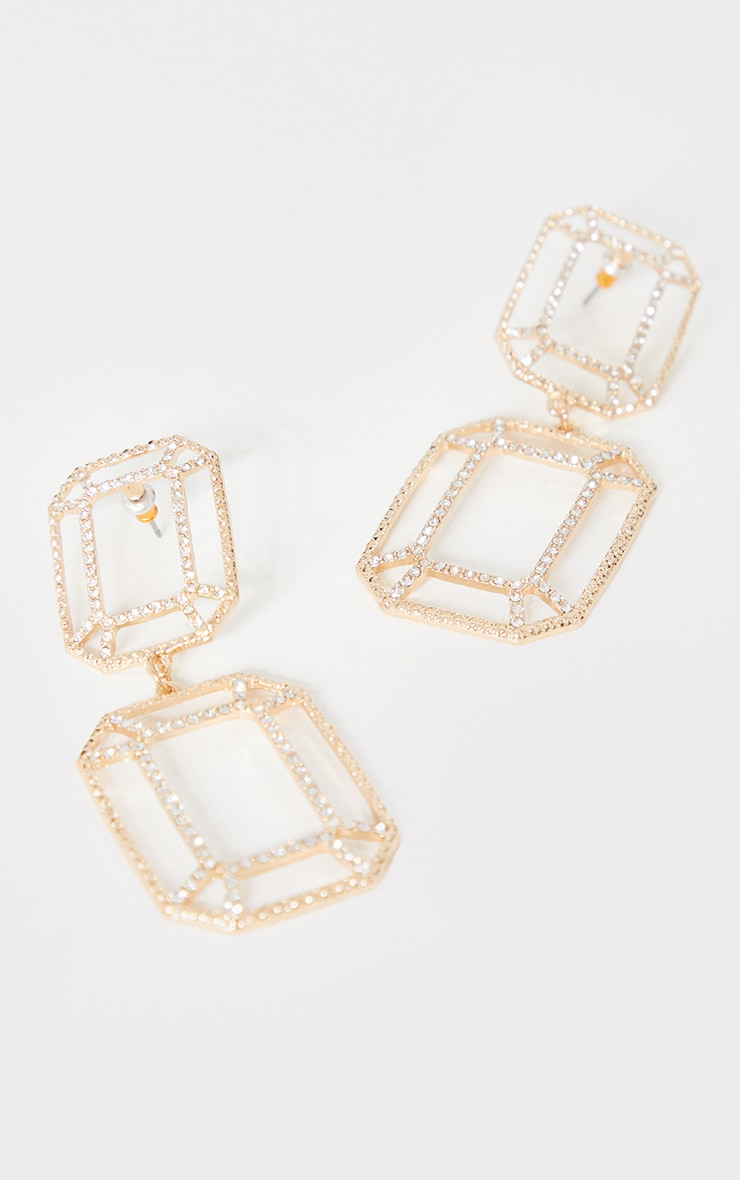 Gold Cut Out Double Square Drop Earrings 3
