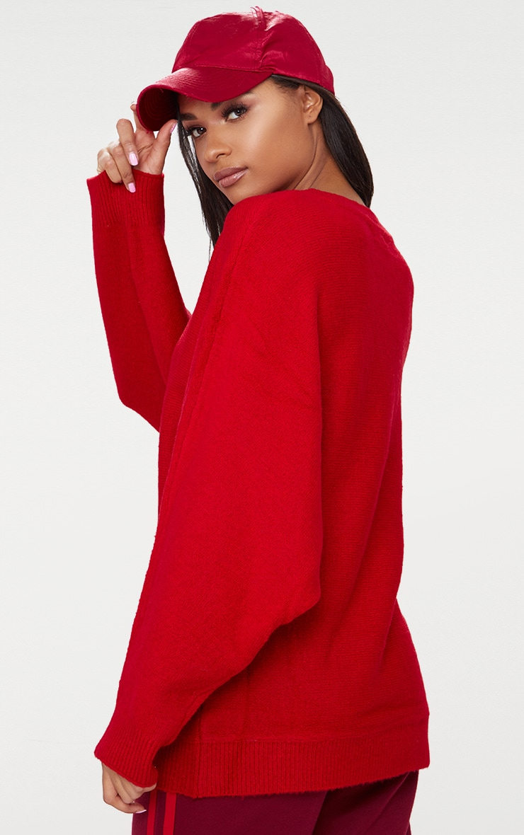 Red Oversized Knitted Sweater 2