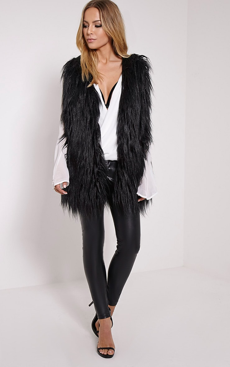 Kely Black Long Line Faux Fur Gilet 3