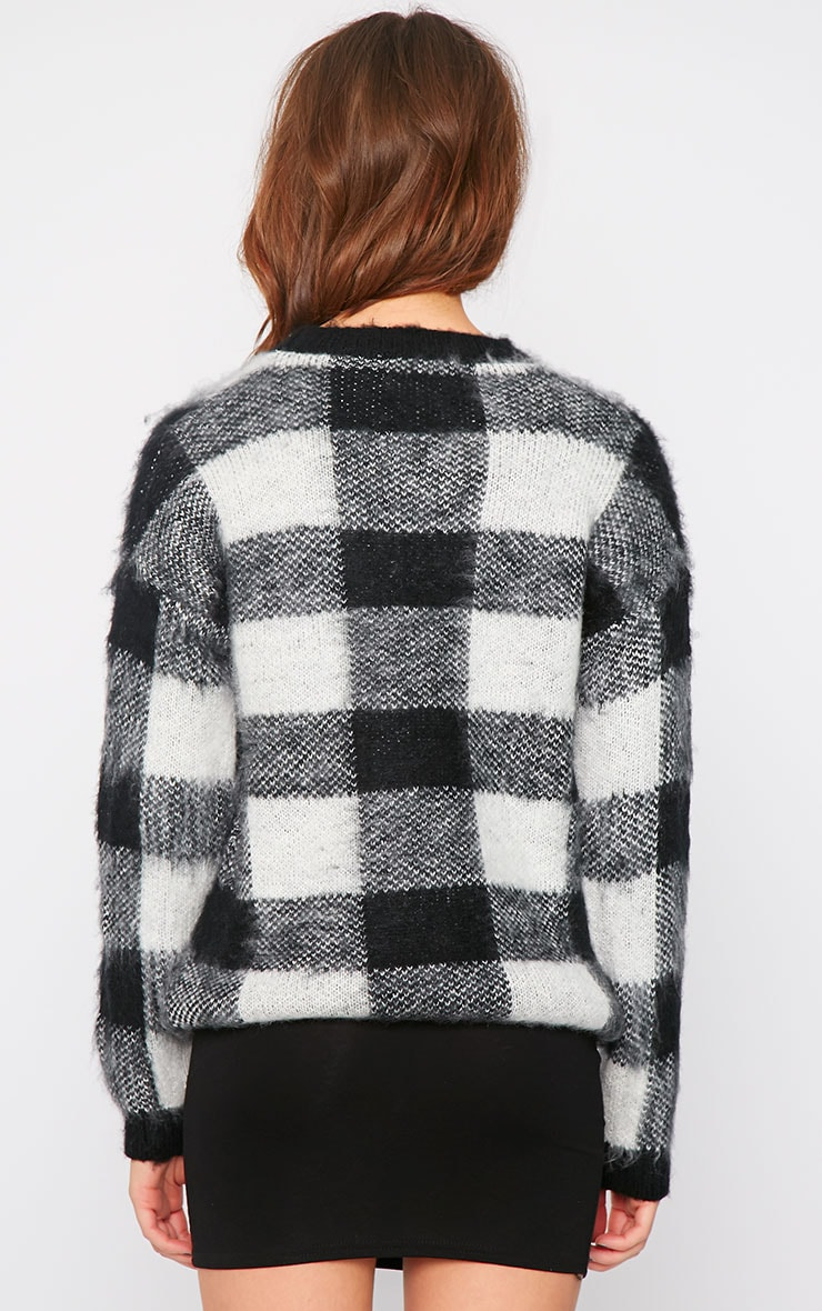 Poppy Black Checked Fluffy Jumper  2