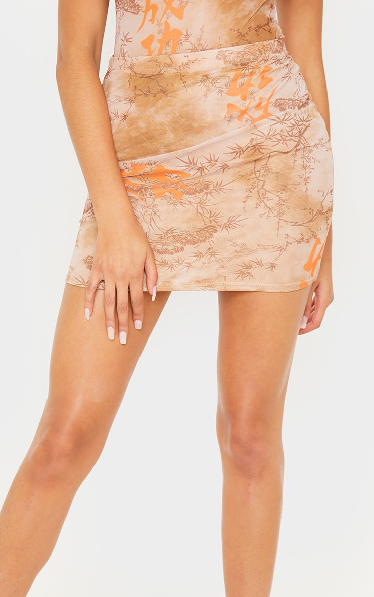Nude Oriental Mesh Printed Mini Skirt 6