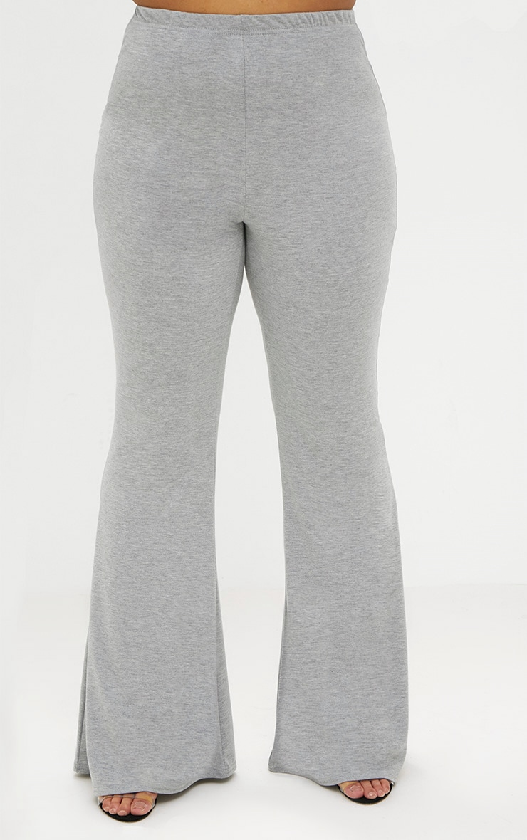 Plus Grey Marl Basic Flared Pants 2