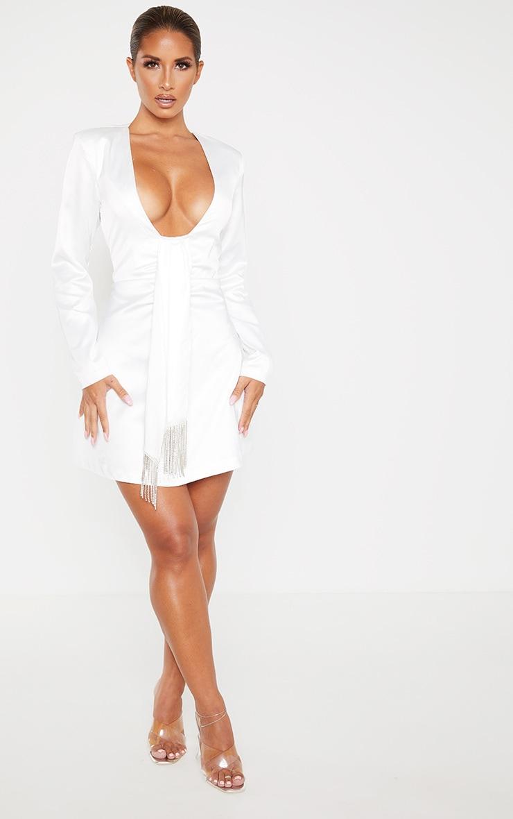 White Extreme Plunge Diamante Drape Shift Dress 4