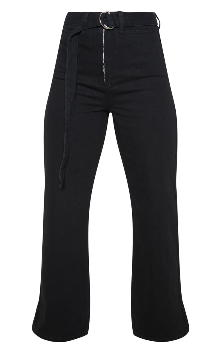 Washed Black Belted Cropped Wide Leg Jeans  3