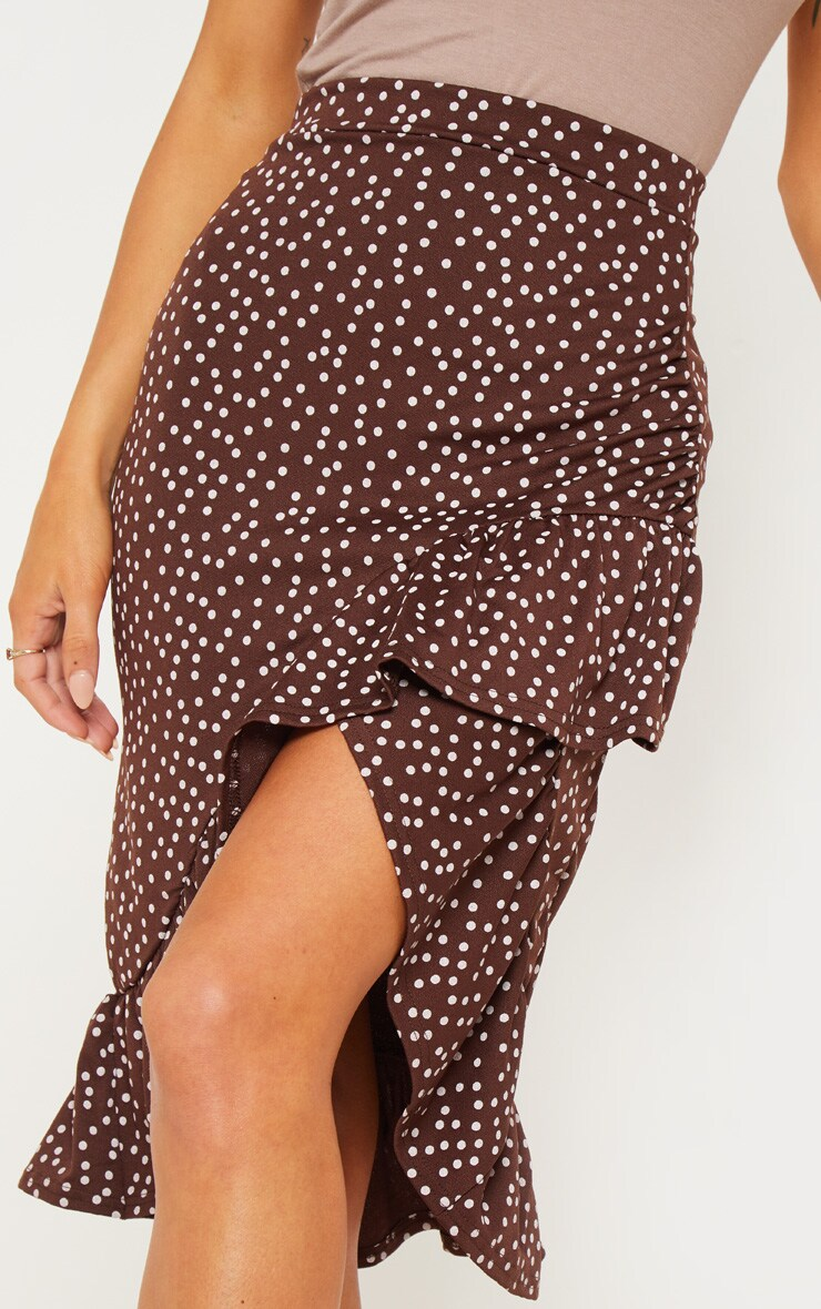 Chocolate Polka Dot Frill Midi Skirt 4