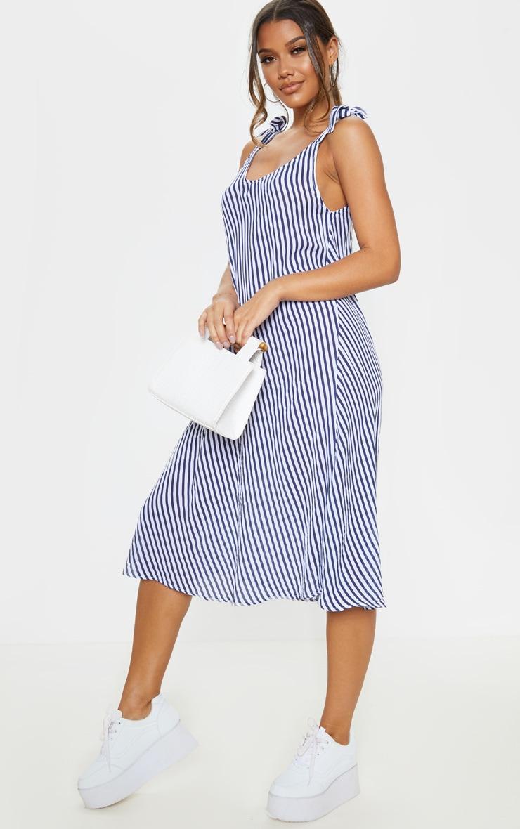 Blue Stripe Tie Shoulder Midi Dress 4